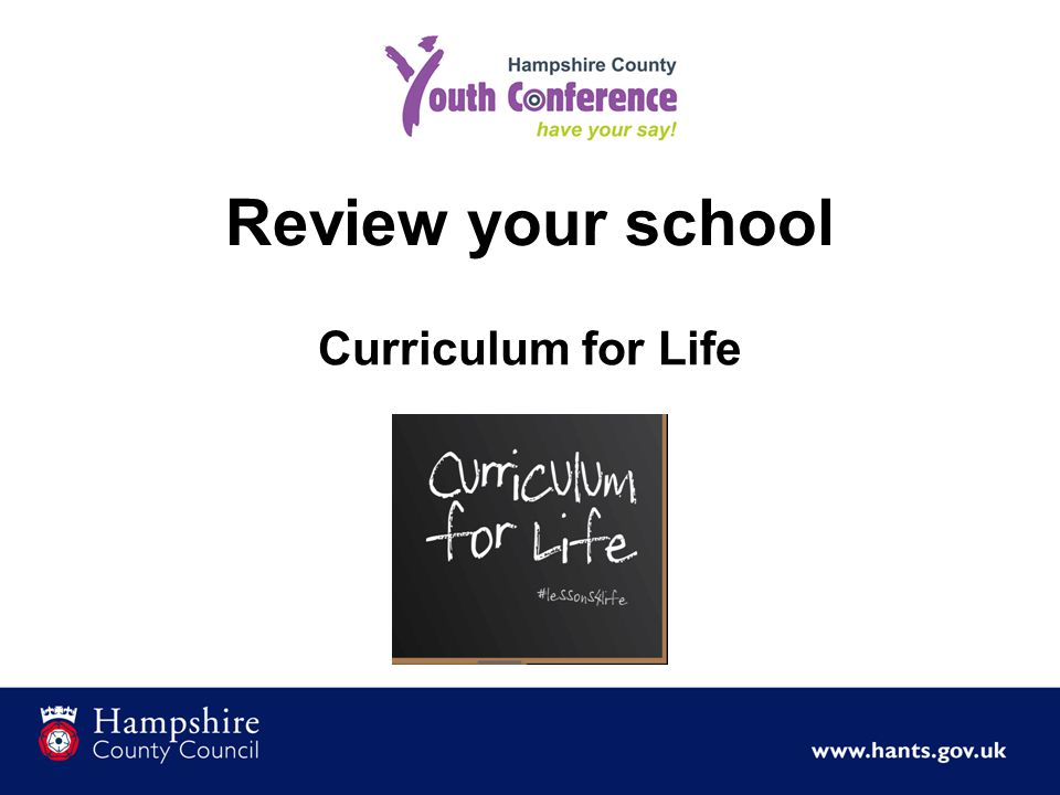 Review your school Curriculum for Life