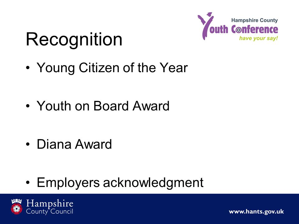 Recognition Young Citizen of the Year Youth on Board Award Diana Award Employers acknowledgment