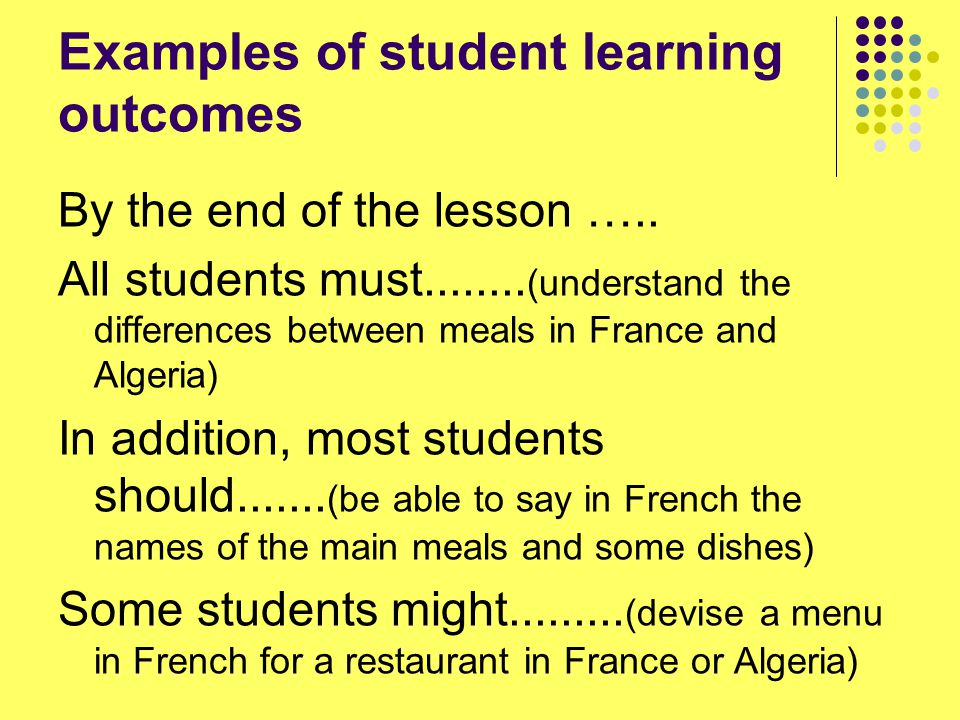 Examples of student learning outcomes By the end of the lesson …..
