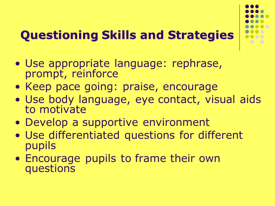 Questioning Skills and Strategies Use appropriate language: rephrase, prompt, reinforce Keep pace going: praise, encourage Use body language, eye contact, visual aids to motivate Develop a supportive environment Use differentiated questions for different pupils Encourage pupils to frame their own questions