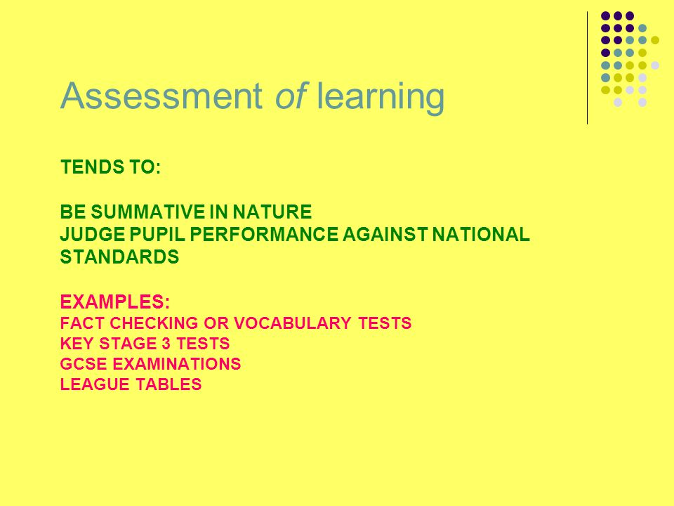 TENDS TO: BE SUMMATIVE IN NATURE JUDGE PUPIL PERFORMANCE AGAINST NATIONAL STANDARDS EXAMPLES: FACT CHECKING OR VOCABULARY TESTS KEY STAGE 3 TESTS GCSE EXAMINATIONS LEAGUE TABLES Assessment of learning