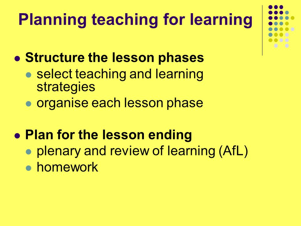 Identify the key questions in relation to the learning intentions for the lesson Decide on the level, order and timing of questions Extend the questioning - thinking of subsidiary questions to ask Analyse anticipated answers and responses you might give Planning for Questioning (Adapted from E C Wragg)