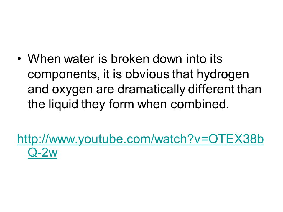 The properties of a compound are different from those of its component elements.