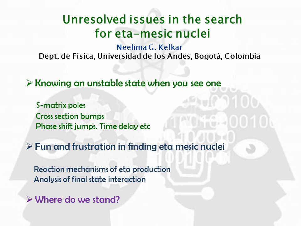 Unresolved issues in the search for eta-mesic nuclei Neelima G.