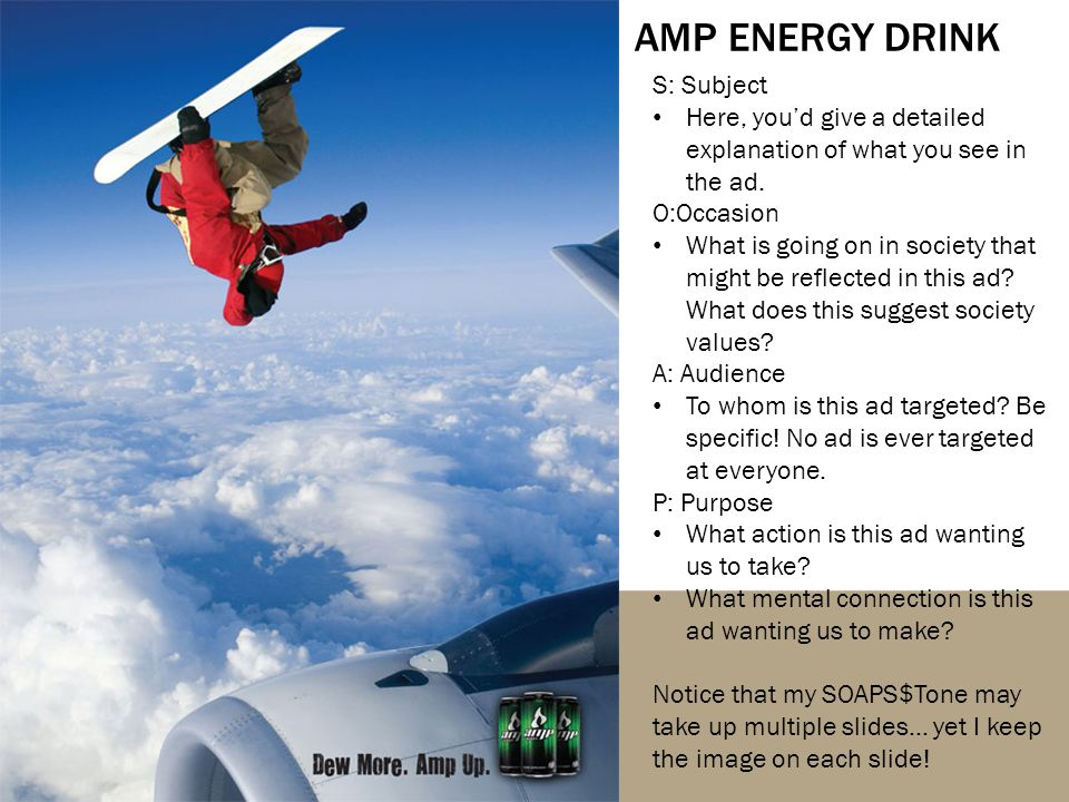 AMP ENERGY DRINK S: Subject Here, you'd give a detailed explanation of what you see in the ad.