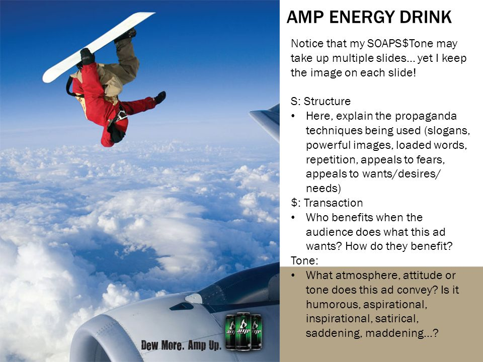 AMP ENERGY DRINK Notice that my SOAPS$Tone may take up multiple slides… yet I keep the image on each slide.
