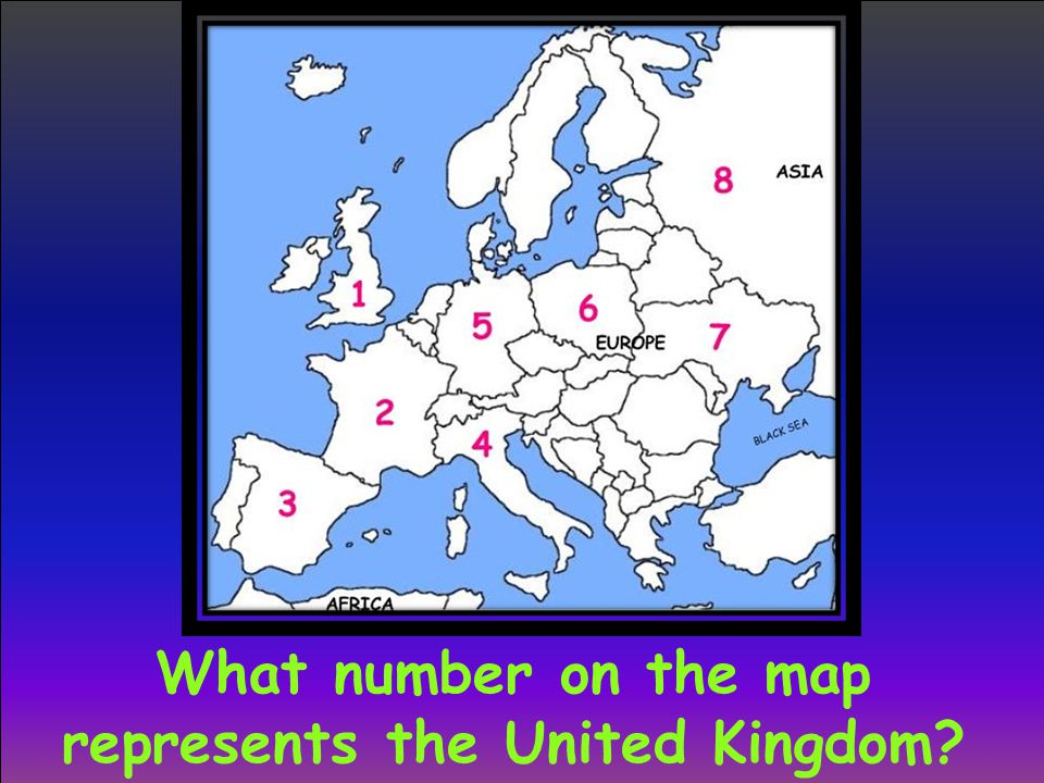 What number on the map represents the United Kingdom