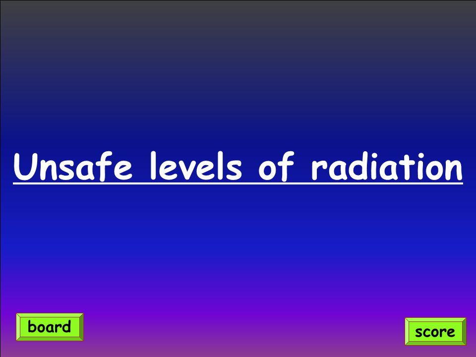 Unsafe levels of radiation score board