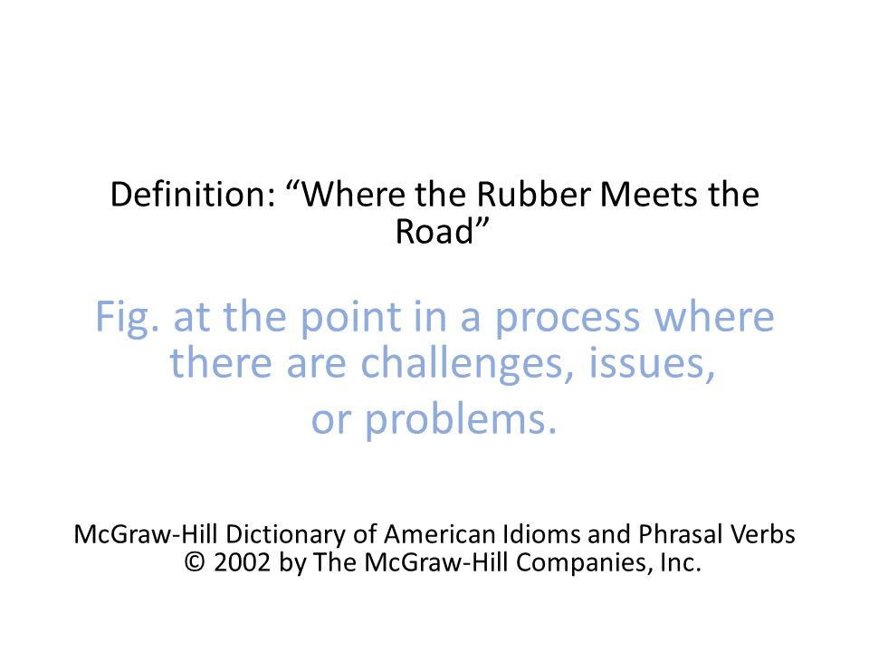 Definition: Where the Rubber Meets the Road Fig.