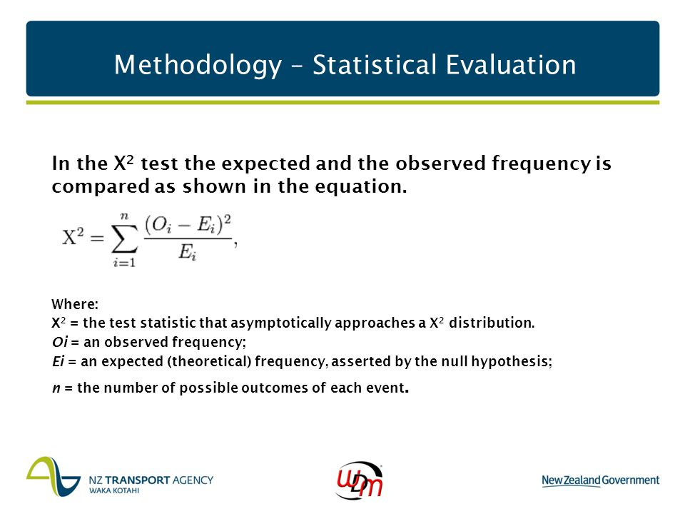 Methodology – Statistical Evaluation In the X 2 test the expected and the observed frequency is compared as shown in the equation. Where: Χ 2 = the te