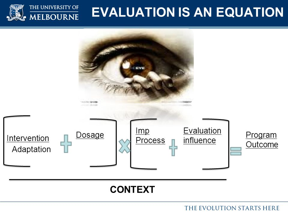 EVALUATION IS AN EQUATION Program Outcome Imp Process Dosage Intervention Adaptation Evaluation influence CONTEXT