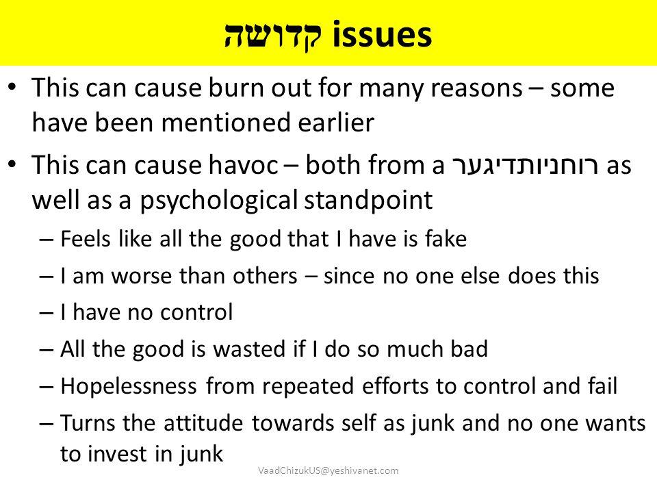קדושה issues This can cause burn out for many reasons – some have been mentioned earlier This can cause havoc – both from a רוחניותדיגער as well as a