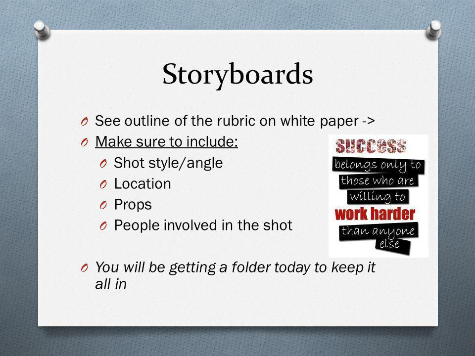 Storyboards O See outline of the rubric on white paper -> O Make sure to include: O Shot style/angle O Location O Props O People involved in the shot O You will be getting a folder today to keep it all in