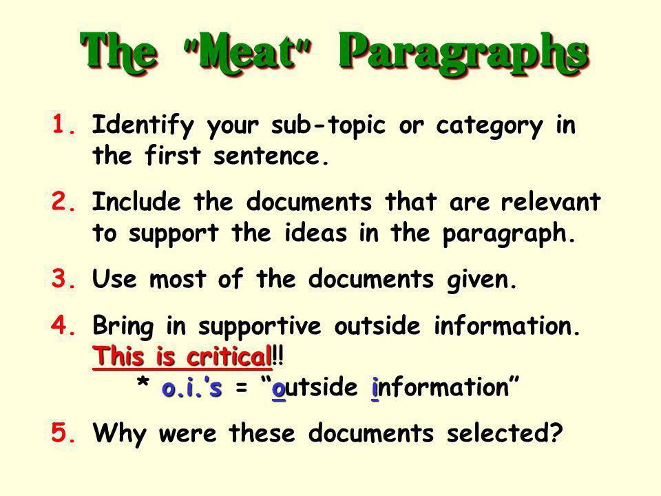 The tasty part of your essay! 8-12 sentences+ per paragraph The Meat Paragraphs