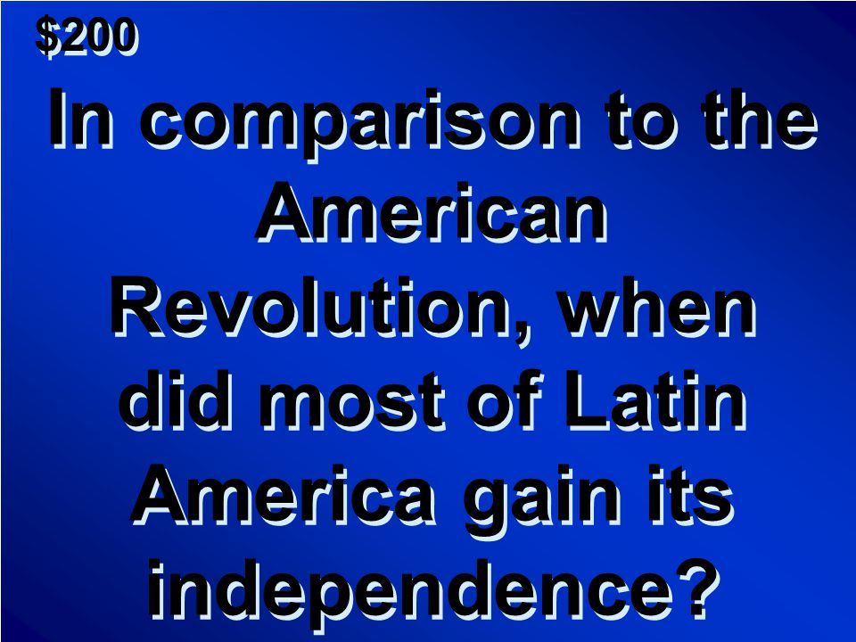 $100 A.In 1492 with Columbus' claim B.In 1518 with the defeat of the Aztecs by Cortes C.1776 with the Revolution D.1898 after the Spanish- American War A.In 1492 with Columbus' claim B.In 1518 with the defeat of the Aztecs by Cortes C.1776 with the Revolution D.1898 after the Spanish- American War Scores