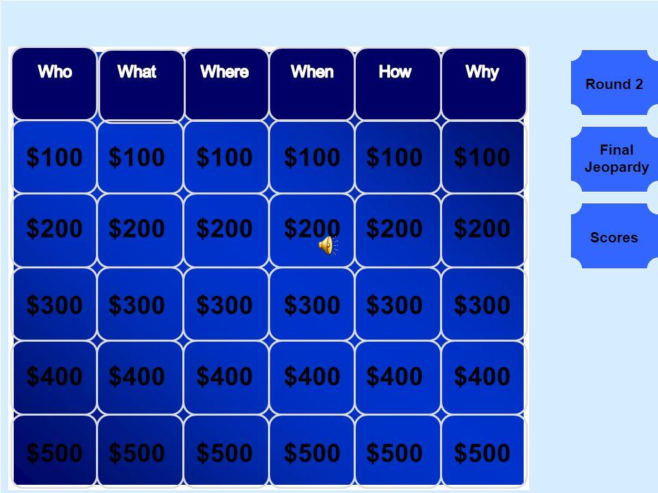 $100 $200 $300 $400 $500 Round 2 Final Jeopardy Scores
