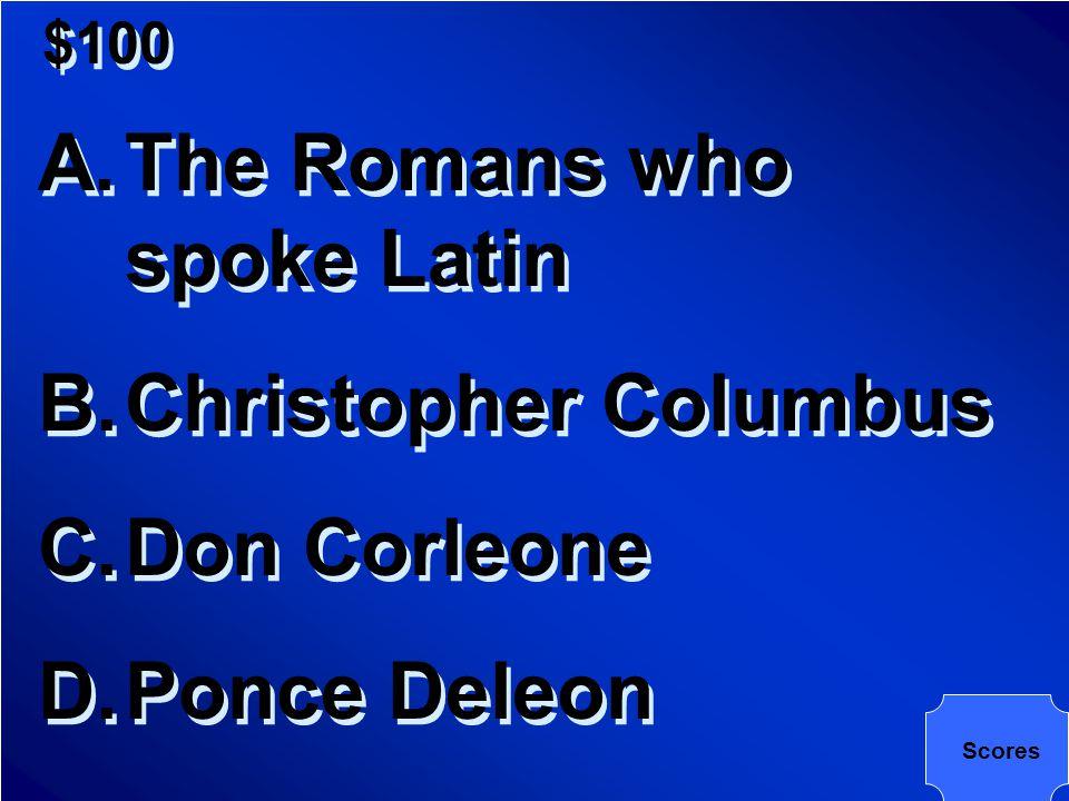 ART Music Latinas Politics Economy Pot Luck $200 $400 $600 $800 $1000 Round 1 Final Jeopardy Scores