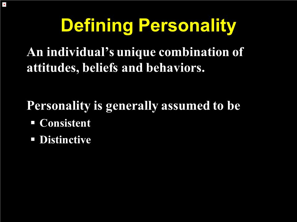 Defining Personality An individual's unique combination of attitudes, beliefs and behaviors.