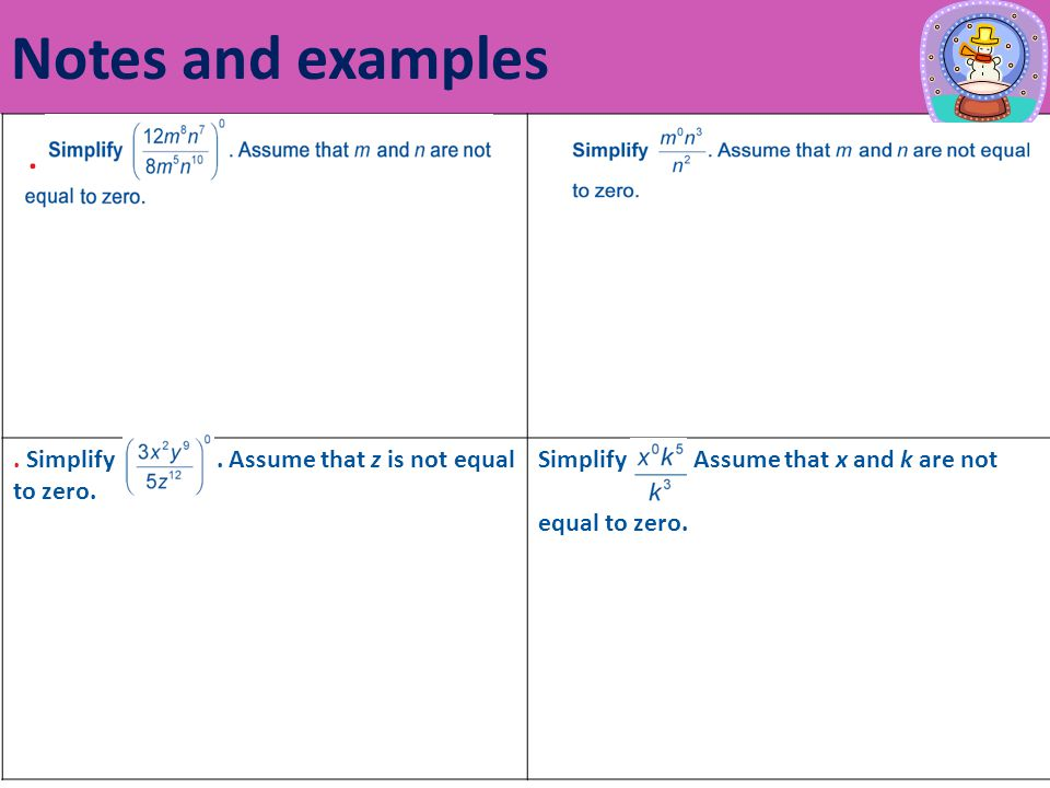 Notes and examples. Simplify. Assume that z is not equal to zero.
