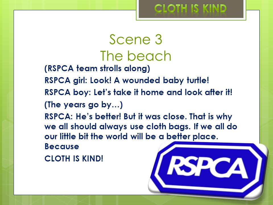 Scene 3 The beach (RSPCA team strolls along) RSPCA girl: Look.