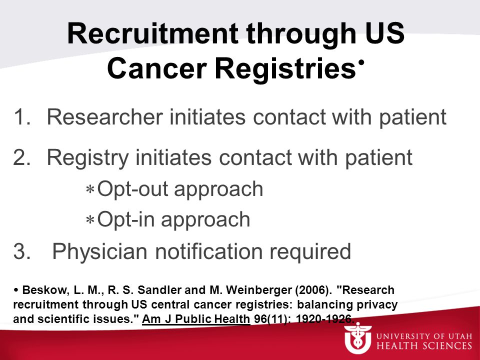 Recruitment through US Cancer Registries  1. Researcher initiates contact with patient 2.
