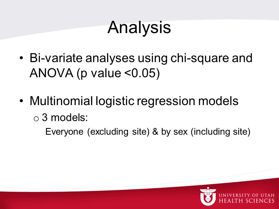 Analysis Bi-variate analyses using chi-square and ANOVA (p value <0.05) Multinomial logistic regression models o 3 models: Everyone (excluding site) &
