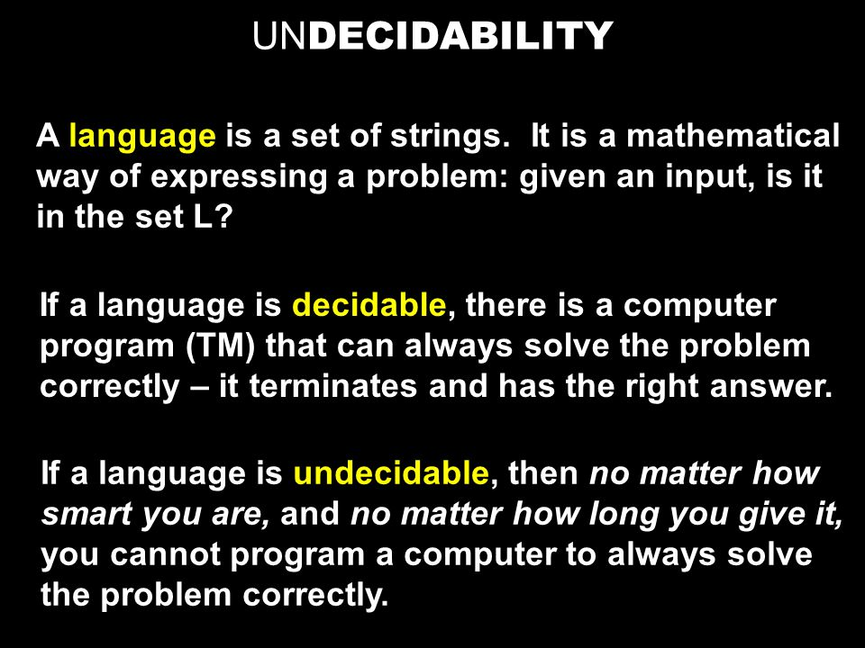 UN DECIDABILITY A language is a set of strings.