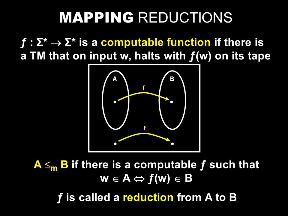 MAPPING REDUCTIONS ƒ : Σ*  Σ* is a computable function if there is a TM that on input w, halts with ƒ(w) on its tape A  m B if there is a computable ƒ such that w  A  ƒ(w)  B ƒ is called a reduction from A to B