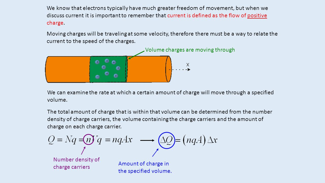 The amount of charge contained in the specified volume can be used to determine the rate at which charge flows through that region.