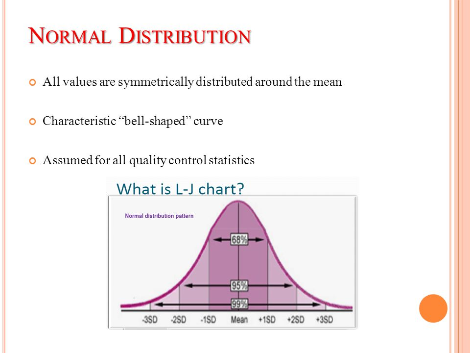 "N ORMAL D ISTRIBUTION All values are symmetrically distributed around the mean Characteristic ""bell-shaped"" curve Assumed for all quality control stat"