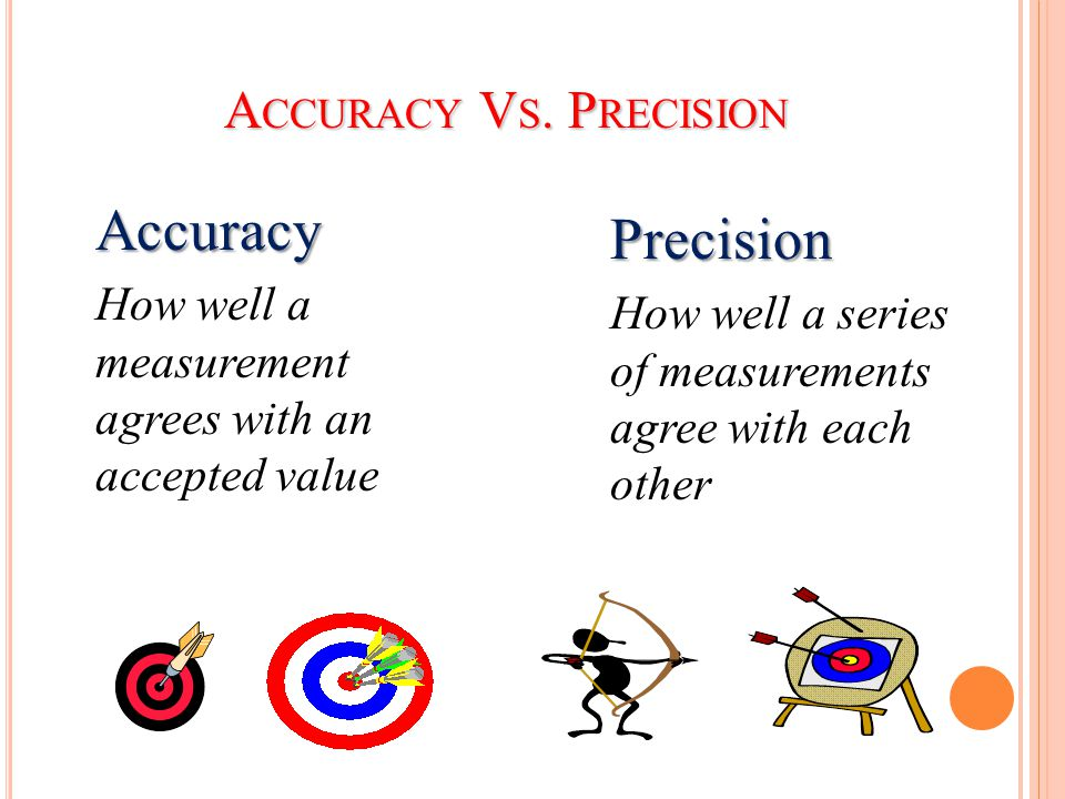 A CCURACY V S. P RECISION Accuracy How well a measurement agrees with an accepted value Precision How well a series of measurements agree with each ot