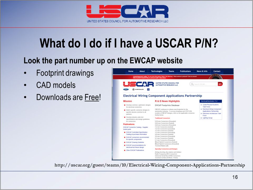 What do I do if I have a USCAR P/N? Look the part number up on the EWCAP website Footprint drawings CAD models Downloads are Free! 16 http://uscar.org