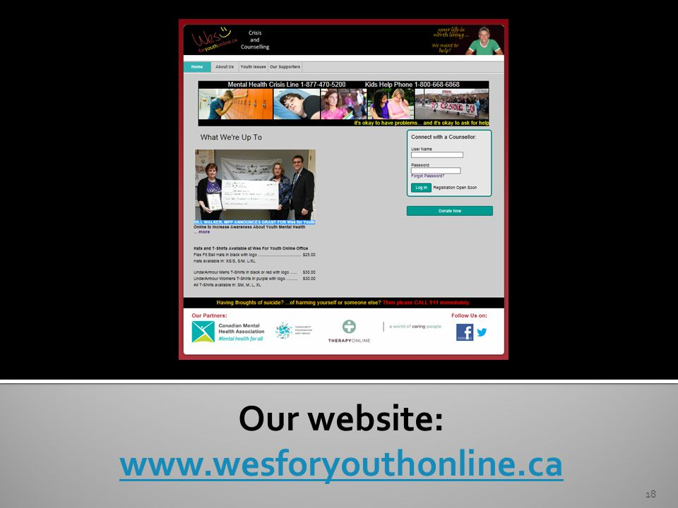 Our website: www.wesforyouthonline.ca 18