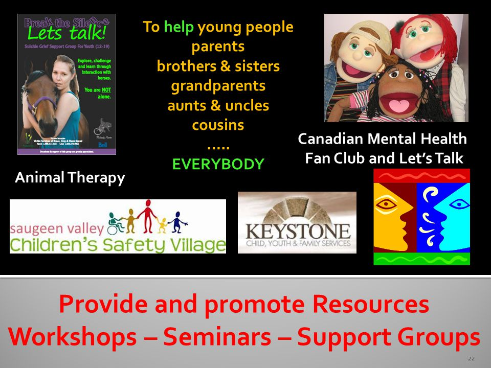 22 Provide and promote Resources Workshops – Seminars – Support Groups Canadian Mental Health Fan Club and Let's Talk Animal Therapy To help young people parents brothers & sisters grandparents aunts & uncles cousins …..