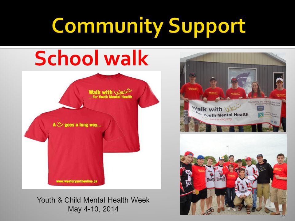 23 School walk Youth & Child Mental Health Week May 4-10, 2014