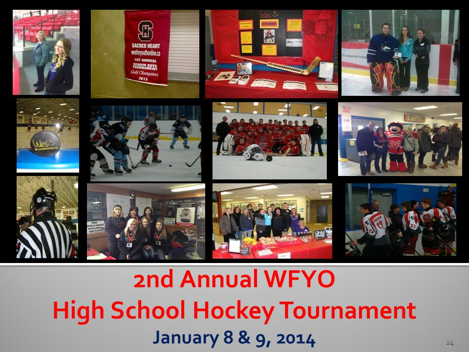 24 2nd Annual WFYO High School Hockey Tournament January 8 & 9, 2014