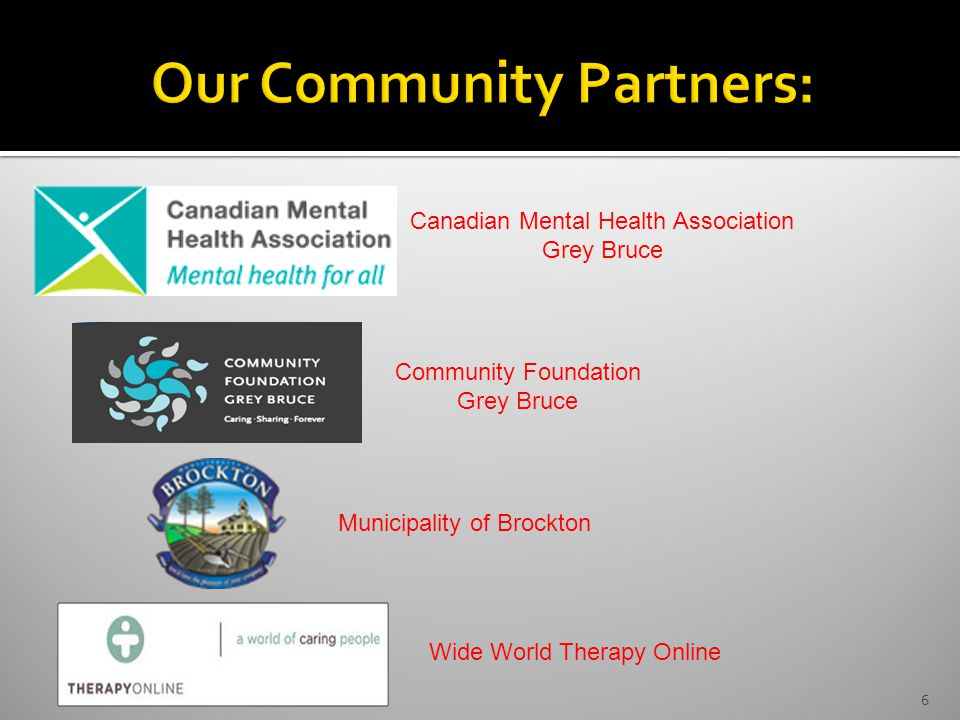 6 Canadian Mental Health Association Grey Bruce Community Foundation Grey Bruce Wide World Therapy Online Municipality of Brockton