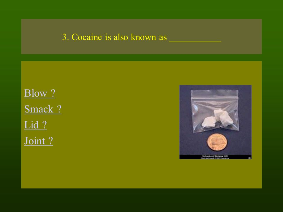 3. Cocaine is also known as ___________ Blow Smack Lid Joint