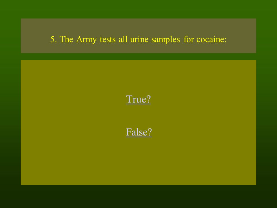 5. The Army tests all urine samples for cocaine: True? False?