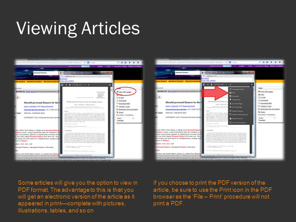Viewing Articles Some articles will give you the option to view in PDF format.