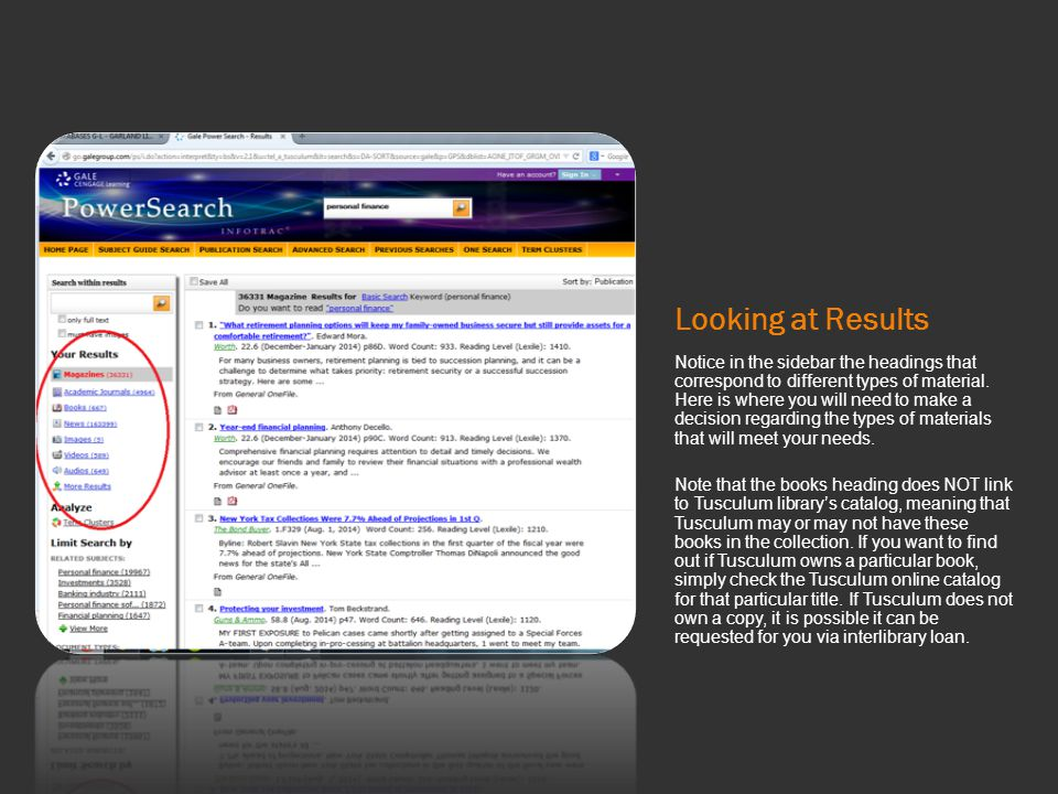Looking at Results Notice in the sidebar the headings that correspond to different types of material.