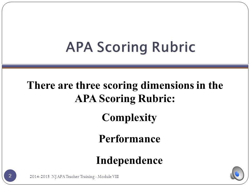 Scoring Dimensions of the APA Rubric Complexity Module VIII 1 1 2014-2015 NJ APA Teacher Training - Module VIII.