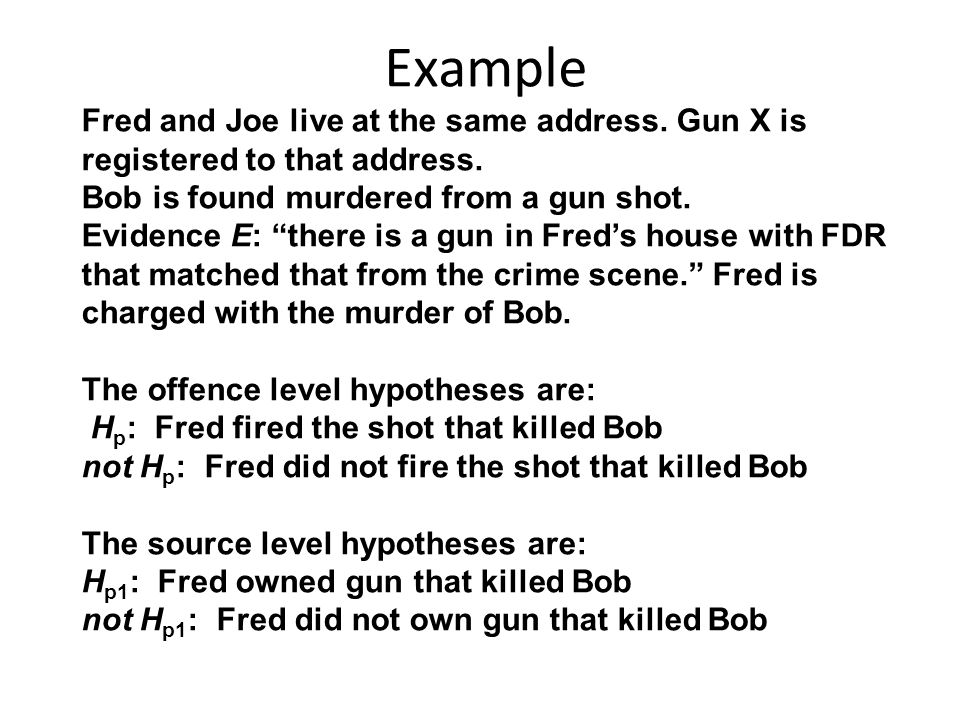 "Example Fred and Joe live at the same address. Gun X is registered to that address. Bob is found murdered from a gun shot. Evidence E: ""there is a gun"