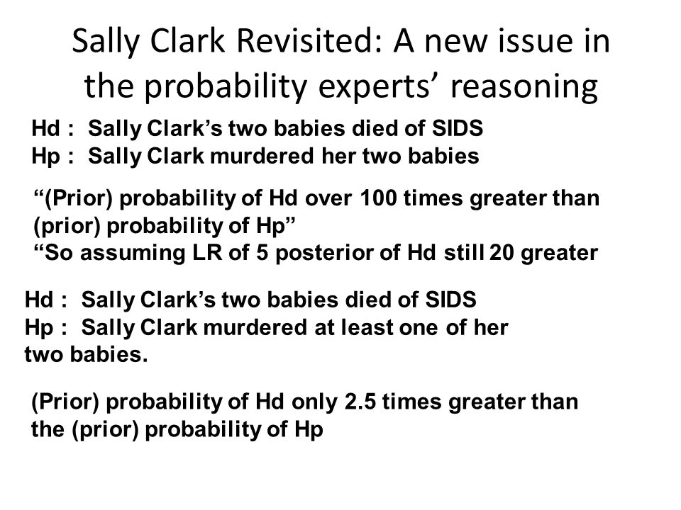 Sally Clark Revisited: A new issue in the probability experts' reasoning Hd : Sally Clark's two babies died of SIDS Hp : Sally Clark murdered her two babies (Prior) probability of Hd over 100 times greater than (prior) probability of Hp So assuming LR of 5 posterior of Hd still 20 greater Hd : Sally Clark's two babies died of SIDS Hp : Sally Clark murdered at least one of her two babies.