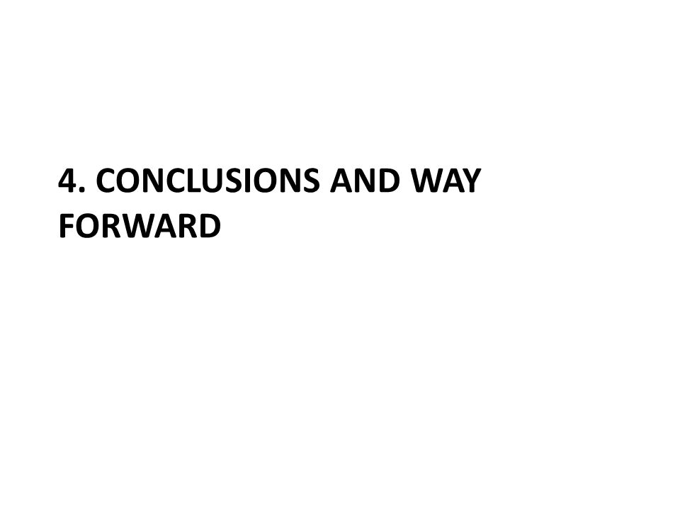 4. CONCLUSIONS AND WAY FORWARD