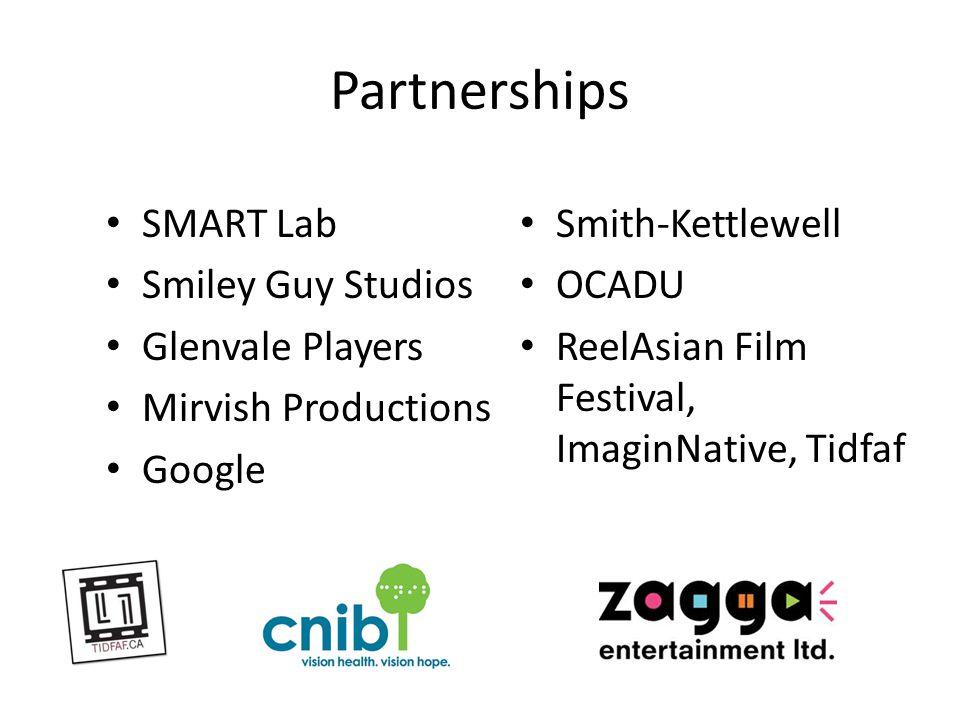 Partnerships SMART Lab Smiley Guy Studios Glenvale Players Mirvish Productions Google Smith-Kettlewell OCADU ReelAsian Film Festival, ImaginNative, Tidfaf