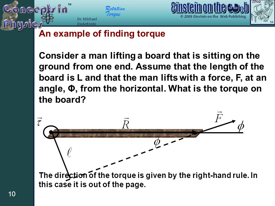 Rotation Torque 10 An example of finding torque Consider a man lifting a board that is sitting on the ground from one end. Assume that the length of t