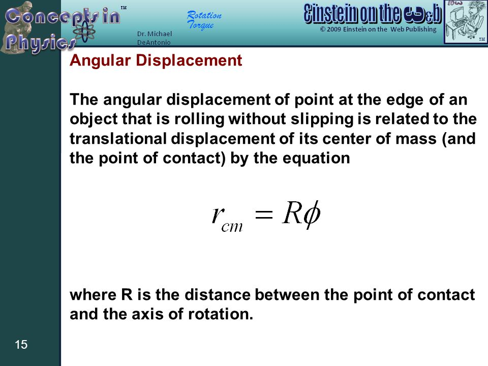 Rotation Torque 15 Angular Displacement The angular displacement of point at the edge of an object that is rolling without slipping is related to the