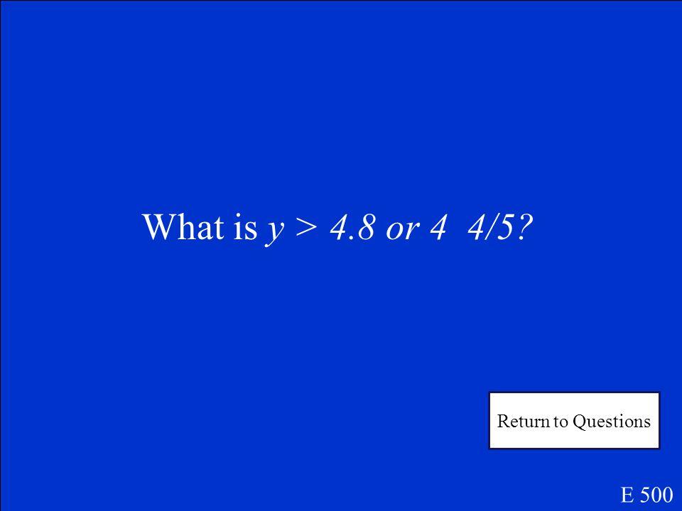 Solve 6y – 10 – y > 14 E 500 Answer 