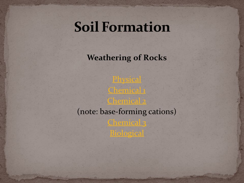 Weathering of Rocks Physical Chemical 1 Chemical 2 (note: base-forming cations) Chemical 3 Biological